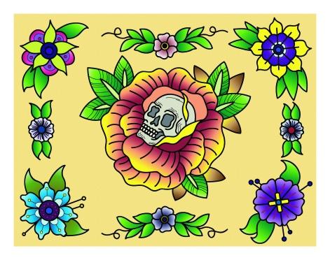 skull-flowers